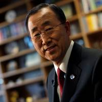 United Nations Secretary General Ban Ki-moon, seen during an interview at U.N. headquarters in New York in this file photo, is currently favored to replace South Korean President Park Geun-hye if he chooses to run. | REUTERS