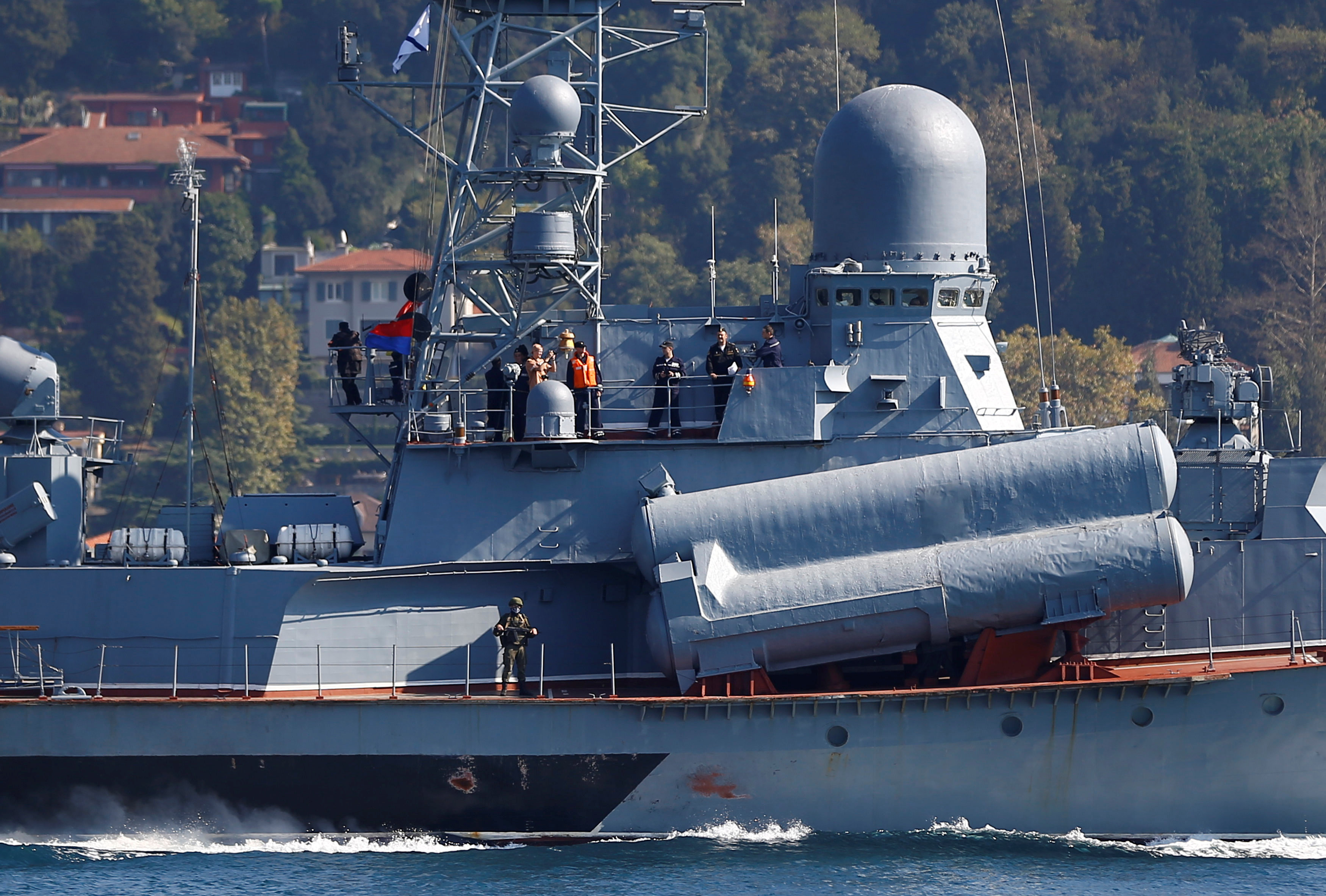 The Russian Navy's missile corvette Mirazh sails in the Bosphorus off Istanbul on its way to the Mediterranean Sea on Friday. | REUTERS