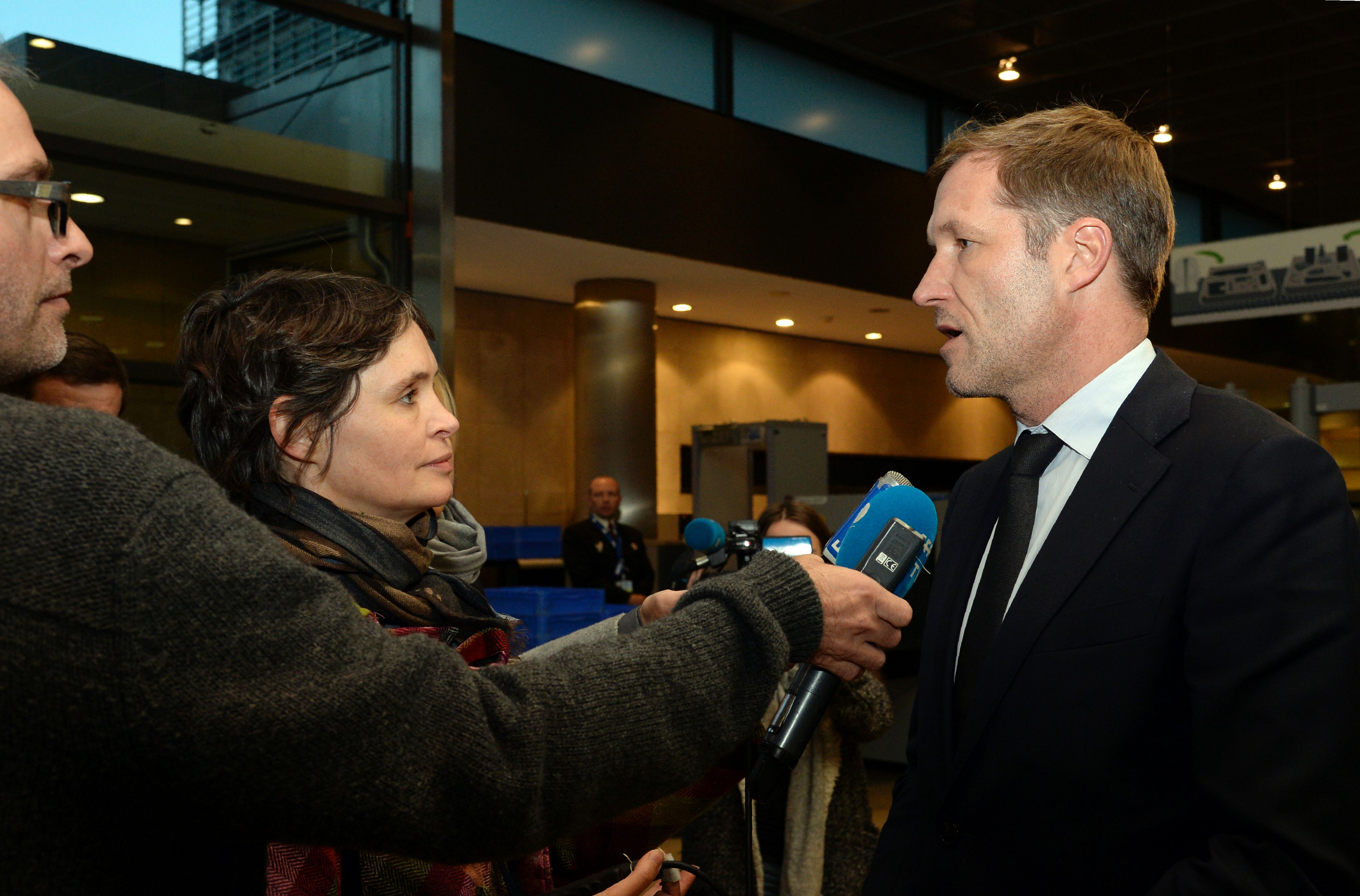 The premier of Belgium's French-speaking Walloon region, Paul Magnette, talks to reporters following his meeting with the European Union Commissioner for Trade at the European Union Commission headquarters in Brussels on Wednesday. | AFP-JIJI