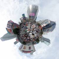 Shibuya's scramble crossing in Tokyo is captured as a tiny planet in this Sept. 25 image. | YOSHIAKI MIURA