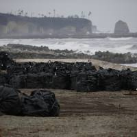 Black plastic bags containing radioactive soil, leaves and debris from decontamination operations are dumped at a seaside spot devastated by the March 2011 earthquake and tsunami in Tomioka, Fukushima Prefecture, near the Fukushima No. 1 nuclear power plant, in February 2015. | REUTERS