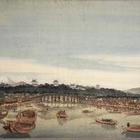 This Western-style painting depicting Nihombashi may have been done by the ukiyo-e painter Katsushika Hokusai, experts say. | COURTESY OF MUSEUM VOLKENKUNDE/ VIA KYODO