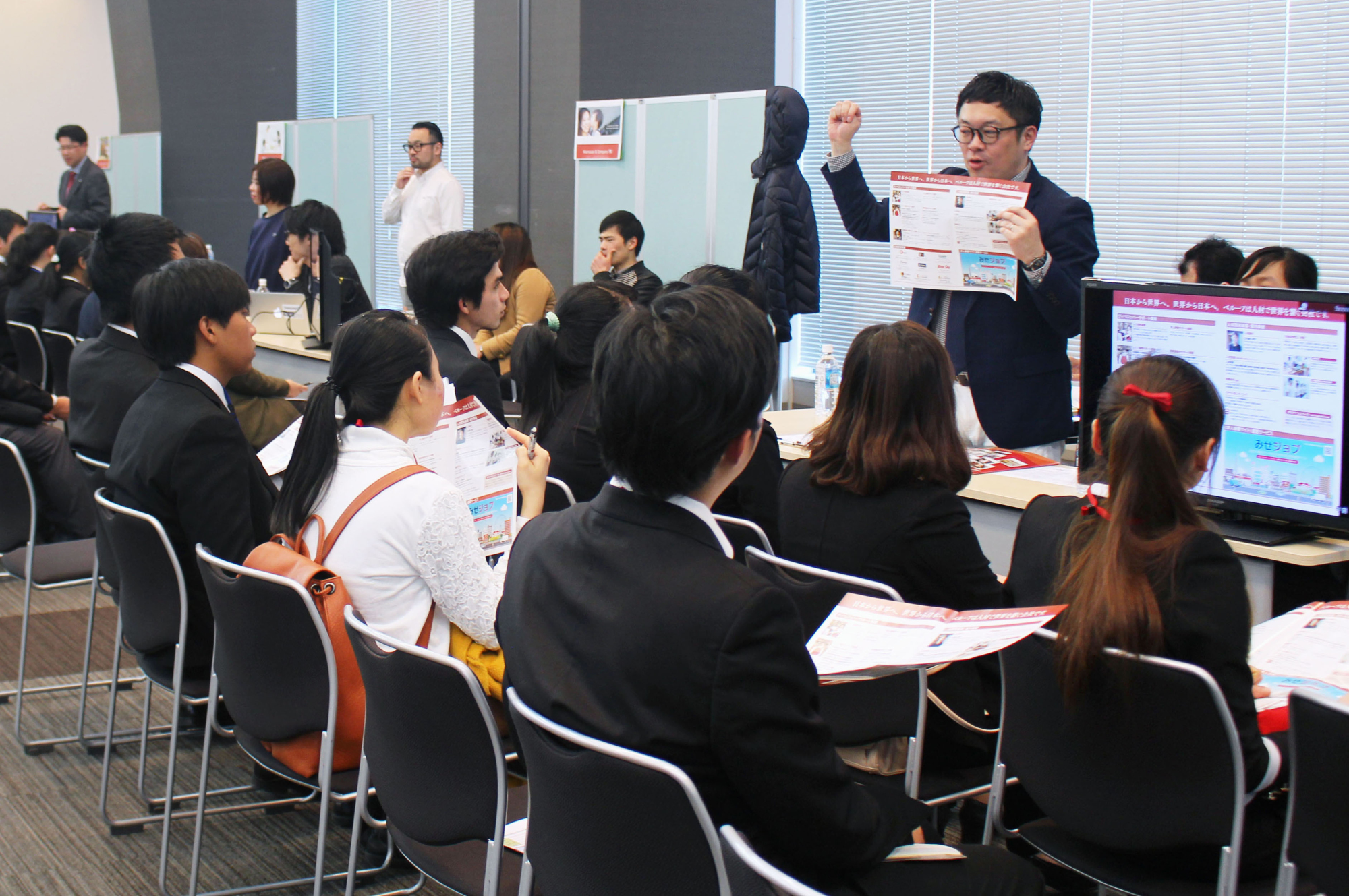 Students from Southeast Asia attend a job seminar organized by job-matching company Node Inc. in Tokyo in February. | KYODO
