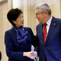 Koike, IOC chief agree to cooperate on cutting cost of Olympics