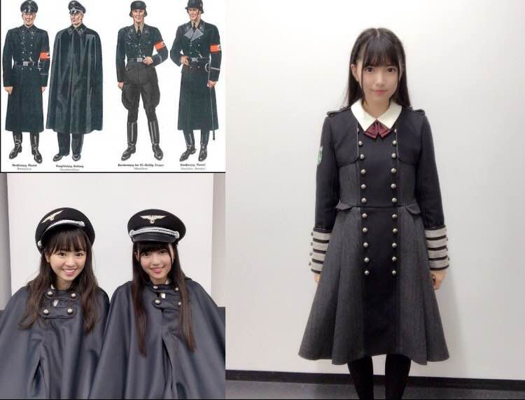 A screen shot from Twitter compares the Halloween costume of girl group Keyakizaka46 with Nazi SS uniforms from World War II.