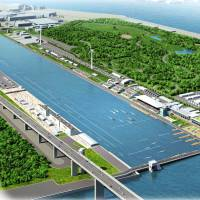 A rendering shows how the proposed facility in Tokyo Bay for the rowing and canoe sprint events might have looked. | TOKYO METROPOLITAN GOVERNMENT