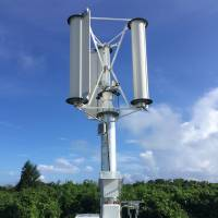 Startup tests egg-beater-type wind turbine that can resist typhoons on Okinawa