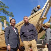 Building connections: Fram Kitagawa (left), an adviser to Culture City of East Asia 2016, and artist Cai Guo-Qiang are two key contributors to this year's 'Art Celebration in Nara: Beyond Time and Space.' | SACHIKO TAMASHIGE