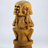 Ceramist Kanjiro Kawai (left) also took to wood carving later in his career, creating pieces such as 'Wooden Statue' (c. 1958). | MUSEUM 'EKI' KYOTO