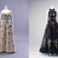 Left to right: A ball gown by Christian Dior and an evening dress with a stole, designed by Madeleine Vionnet. | IWAMI ART MUSEUM