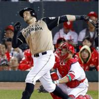 Brandon Laird's solo homer in the seventh inning accounted for the Fighters' lone run of the game. | KYODO