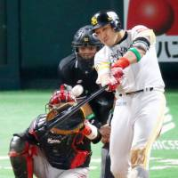 Uchikawa sparks Hawks in Climax Series opener against Marines