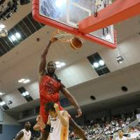 Chiba Jets center Hilton Armstrong, a newcomer to Japan pro basketball, was the No. 12 pick in the 2006 NBA Draft.   B. LEAGUE