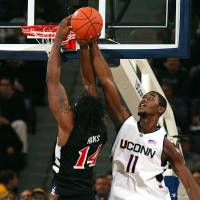 Former UConn big man Hilton Armstrong was the Big East Conference's 2005-06 Defensive Player of the Year.   UCONN ATHLETICS
