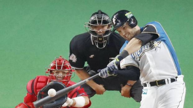 Laird sends Fighters past Carp to tie Japan Series