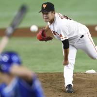 Giants left-hander Kazuto Taguchi pitched seven innings of one-run ball on Sunday.   KYODO