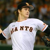 The Giants didn't reveal that right-hander Miles Mikolas, seen in a file photo, would start Saturday's Game 1 of the first stage of the Central League Climax Series at Tokyo Dome until game day. | KYODO