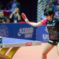 Miu Hirano plays a shot during the women's table tennis World Cup tournament in Philadelphia on Sunday. | KYODO