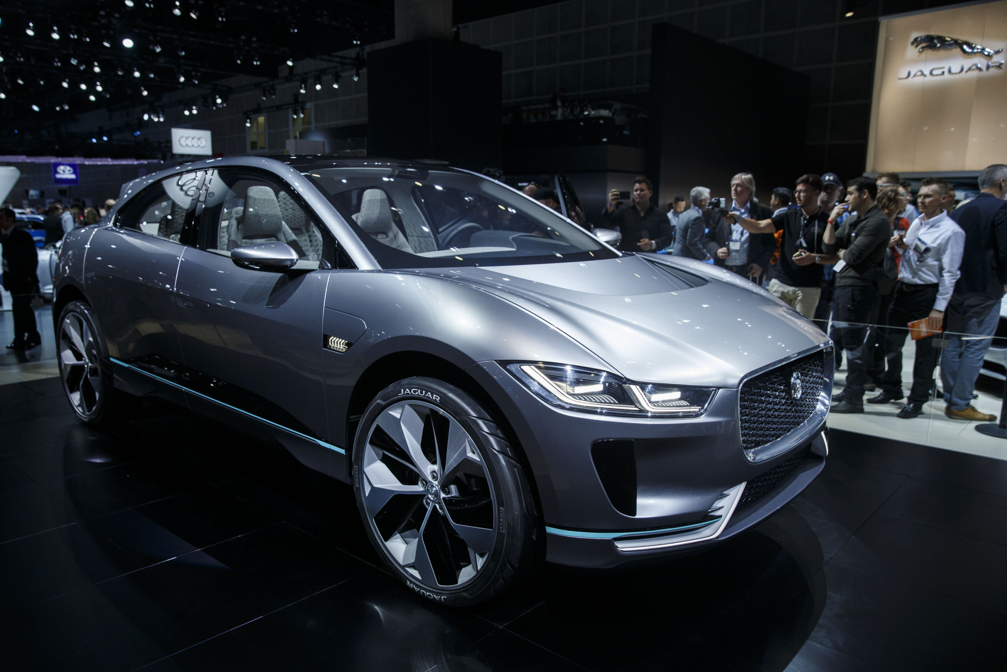 The Jaguar Land Rover Automotive Plc I-Pace Electric Concept luxury sport utility vehicle is displayed during AutoMobility LA ahead of the Los Angeles Auto Show in Los Angeles Nov. 16. | BLOOMBERG