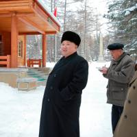 North Korean leader Kim Jong Un gives guidance during his visit to various fields of Samjiyon County in this undated photo released by North Korea's Korean Central News Agency (KCNA) in Pyongyang Monday. | KNCA / REUTERS