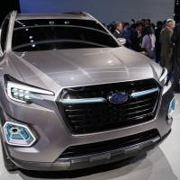 The Fuji Heavy Industries Ltd.'s Subaru Viziv-7 concept sport utility vehicle is displayed during Automobility LA, ahead of the Los Angeles Auto Show last Thursday. | BLOOMBERG