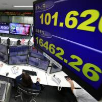 Computer screens in a Tokyo trading room show the yen surging to the 101 range to the dollar Nov. 9 on news reports Donald Trump was winning the U.S. Presidential race. | AP