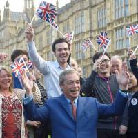 Nigel Farage, leader of the United Kingdom Independence Party, celebrates the result in London in June. | REUTERS