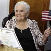 99-year-old woman named America happy to become a U.S. citizen