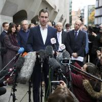 Brendan Cox, husband of MP Jo Cox, speaks outside the Old Bailey courthouse after the conviction and sentencing of Thomas Mair for his wife's murder, in London Wednesday. | REUTERS