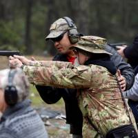 Brandon Rapolla, a founder of the Pacific Patriots Network, leads a firearms handling and safety class in Grants Pass, Oregon, in March.   REUTERS