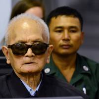 Former Khmer Rouge leader Nuon Chea, 'Brother Number Two,' sits in a Phnom Penh courtroom on Wednesday where his life sentence for crimes against humanity was upheld along with that of former Khmer President Khieu Samphan . | REUTERS