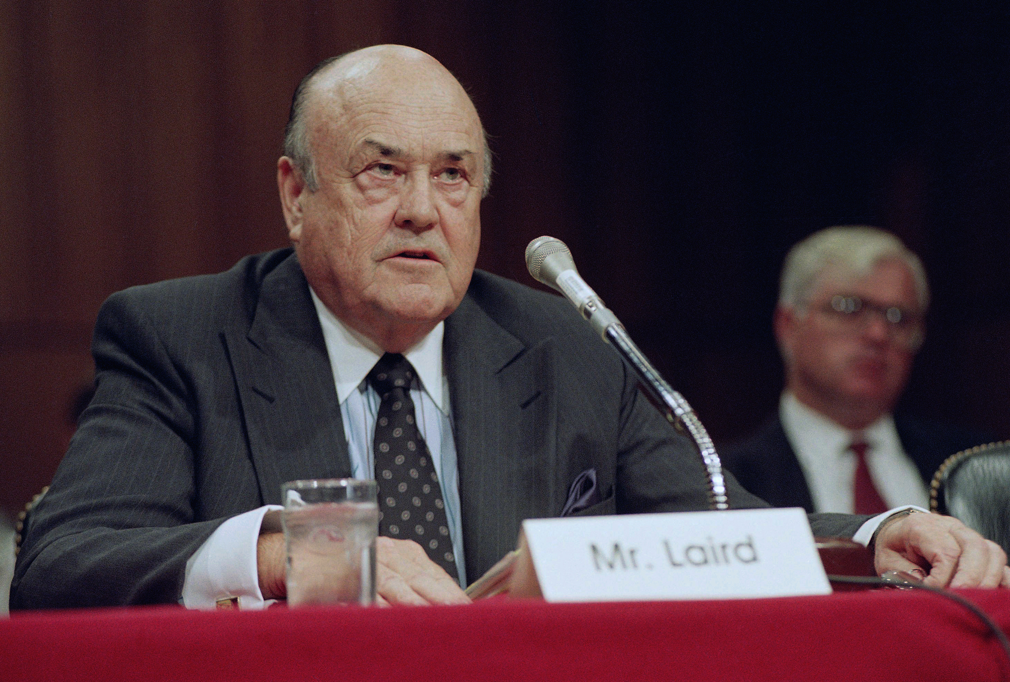 In this 1992 file photo, former Defense Secretary Melvin R. Laird testifies on Capitol Hill in Washington. Laird, defense secretary under Richard Nixon who helped engineer withdrawal of U.S. troops from Vietnam, has died. | AP