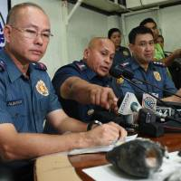 Philippine police chief Director-General Ronald Dela Rosa speaks at a press conference about the improvised explosive device found by a street sweeper near the U.S. Embassy. | AFP-JIJI