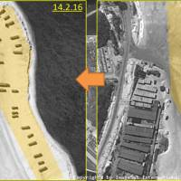 Satellite images taken on Feb. 14 and Feb. 3 of Chinese-controlled Woody Island in the South China Sea show the apparent deployment of surface-to-air missiles. | REUTERS