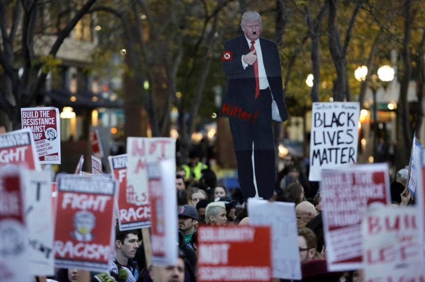 People gather in protest to the election of Republican Donald Trump as U.S. president in Seattle, Washington.