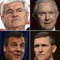 Clockwise, from top left: Ben Carson, Newt Gingrich, Jeff Sessions, Michael Flynn, Chris Christie  and Rudy Giuliani have all been named to President-elect Donald Trump's transition team as vice chairs. | AFP-JIJI