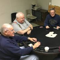 Retired steel workers Mike Pron (left to right) Jim McAndrew, Charlie Kelly, Joe Gonda and Ken Rayden play poker in a union hall in Bethlehem, Pennsylvania, on Thursday. Among the five, all life-long Democrats, only three cast ballots for Clinton. | REUTERS