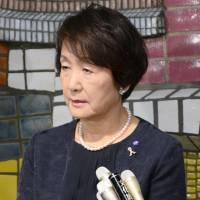 Mayor Fumiko Hayashi speaks to reporters at Yokohama City Hall on Monday. | KYODO