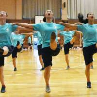 Members of the Jets cheerleading club practice at Fukui Commercial High School on Sept. 27 in the city of Fukui. | KYODO