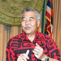 Hawaii Gov. David Ige is interviewed in Honolulu on Tuesday. | KYODO