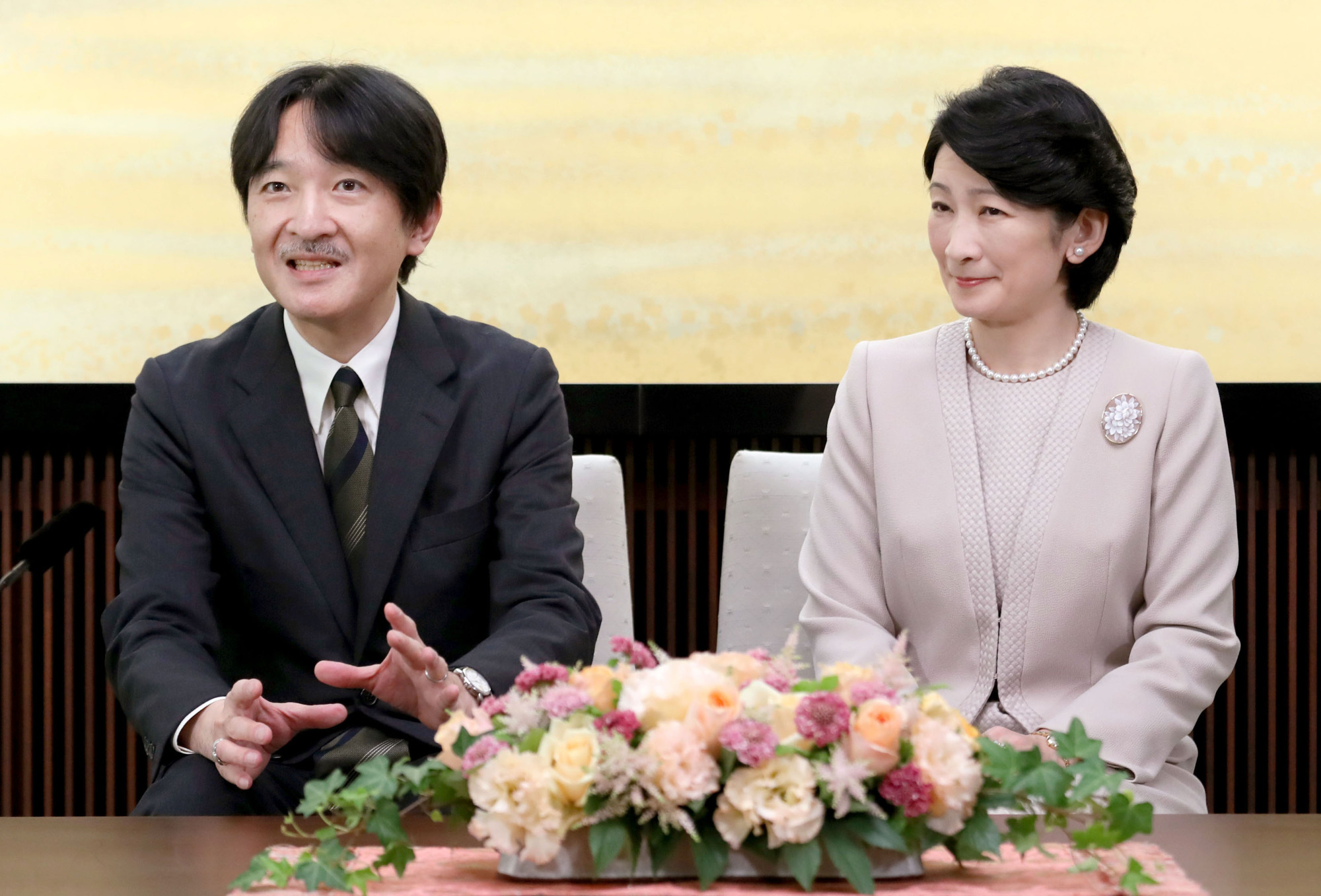 Prince Akishino, the younger son of Emperor Akihito, speaks along with his wife, Princess Kiko, at a news conference held at his home in Tokyo on Nov. 22. The prince turned 51 Tuesday. POOL/ VIA KYODO