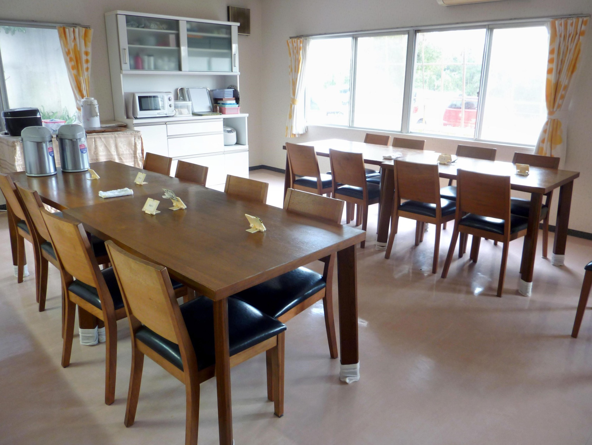 A dining room at a public shelter for women is shown in Chiba Prefecture.   KYODO