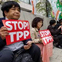 People opposed to the Trans-Pacific Partnership agreement stage a sit-in in front of the Diet building in Tokyo on Wednesday morning. | TOMOHIRO OSAKI