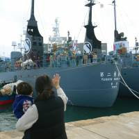 Two whaling ships leave the port in Shimonoseki, Yamaguchi Prefecture, on Friday to conduct so-called research whaling in the Antarctic Ocean. | KYODO
