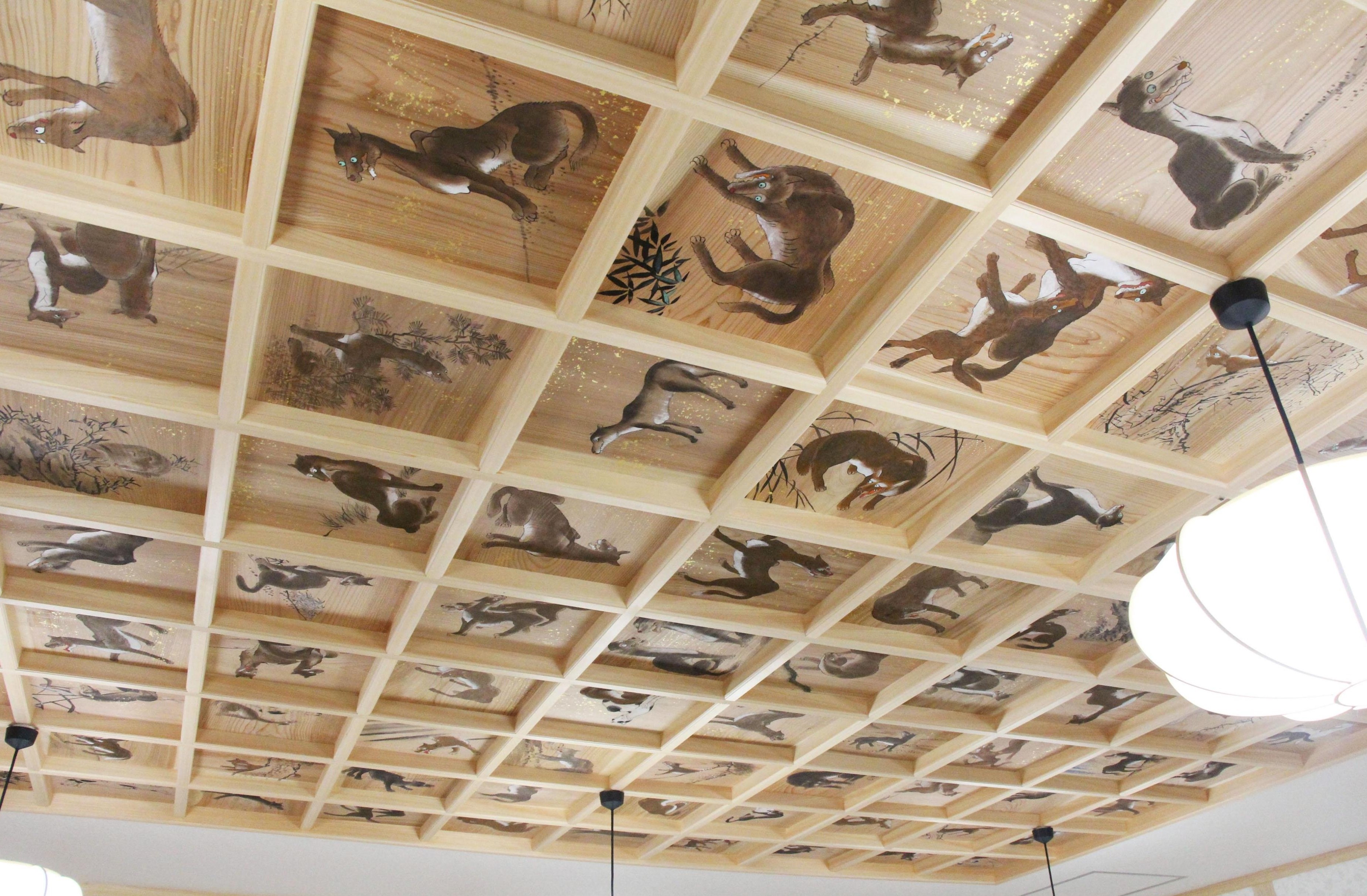 The restored ceiling paintings at Yamatsumi Shrine in Iitate, Fukushima Prefecture, are seen on Friday. | KYODO