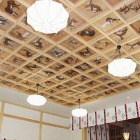 Wolf paintings are seen adorning the ceiling of the newly-rebuilt hall of worship at Yamatsumi Shrine in Iitate, Fukushima Prefecture, on Friday. | KYODO