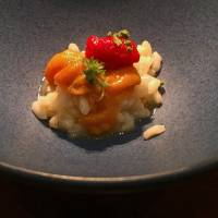Intersection of food cultures: The final main course at erba da nakahigashi is risotto, which is topped with sea urchin or other fresh seafood. | ROBBIE SWINNERTON
