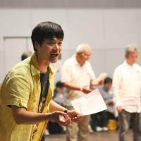 Massive undertaking: Seiji Nozoe directs elderly actors during rehearsals for the play 'Gold Symphony, my dream, your dream.' | © MAIKO MIYAGAWA