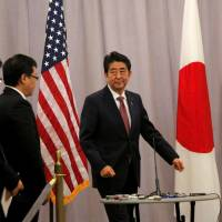 Forging ties: Prime Minister Shinzo Abe prepares to address reporters following a meeting with U.S. President-elect Donald Trump in New York. | REUTERS