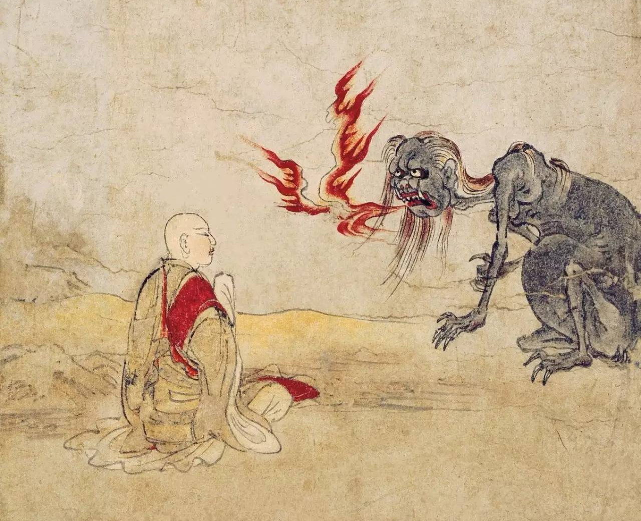 Unnatural: This scene from the Gaki-zoshi (Scroll of the Hungry Ghosts), illustrated during the late Heian Period (794 to 1185), depicts a confrontation between a monk and a supernatural entity. Centuries later, writer Ueda Akinari would set the literary template for similar encounters. | PUBLIC DOMAIN
